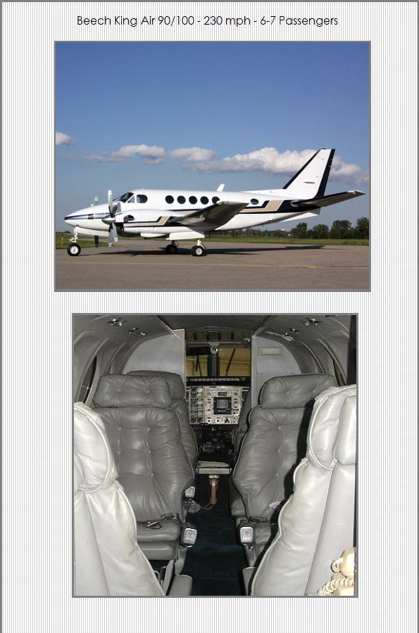 Airplane Charters - Beech King Air